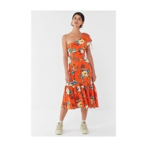 UO Carmen Linen One-Shoulder Ruffle Midi Dress